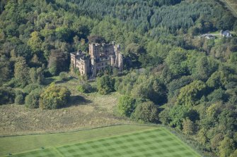 Oblique aerial view of Lennox Castle, looking W.