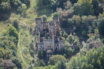 Oblique aerial view of Lennox Castle, looking SSE.