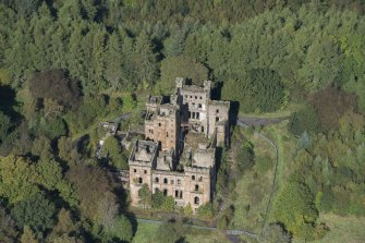 Oblique aerial view of Lennox Castle, looking NNW.
