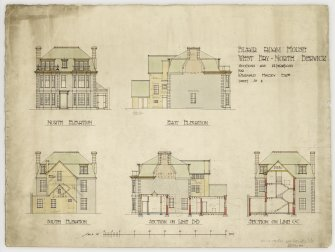 Additions and alterations to Blair Adam House for Reginald Halsey. Sections and elevations.