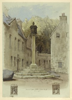 Drawing of the view from the SE of the Market Cross at Airth.