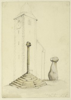 Drawing of Clackmannan Market Cross and King Robert's Stone.