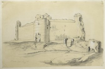 Drawing of Tantallon Castle.