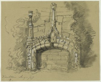 Drawing of fireplace at Dirleton Castle.