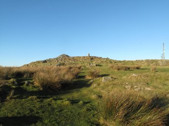 Drumcarrow Craig broch; general view from SSE.
