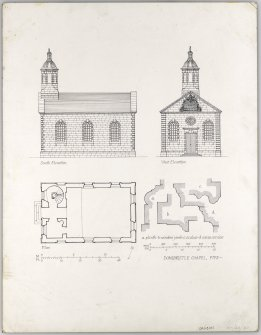 Ground plan, south & west elevations of Chapel.