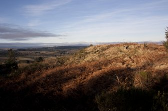 Ogle Hill, view from SE of summit area taken from the outer defence looking over the bracken-grown remains of the middle defence.