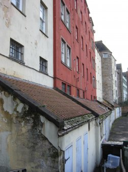 General view of rear elevation of tenements at 181-223 Canongate, Edinburgh.