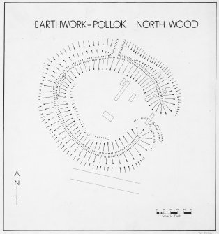 Inked plan of earthwork at Pollok showing position of trenches.