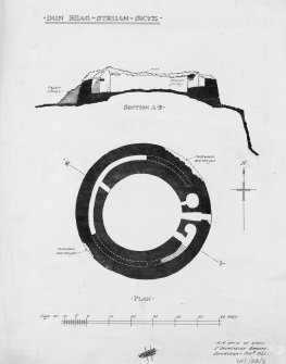 Publication drawing; plan and section of Dun Beag, Struan.