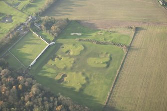 Oblique aerial view of Melville Castle walled garden and part of the Kings Acre golf course, looking WNW.