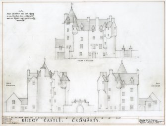 Elevation drawings of Kilcoy Castle, W Schomberg Scott and R McKinver Architects, Edinburgh.