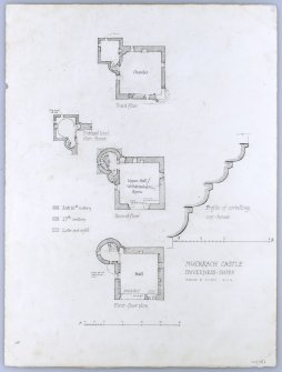 Muckrach Castle. Plan of upper floors, profile of corbelling.
