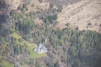 Oblique aerial view of Ardtornish House on the Isle of Mull, looking NNE.