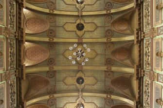 View of ceiling in the Great Hall, level 3, New Craig House, Edinburgh.