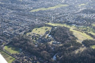 General oblique aerial view of the former Napier University Campus centred on New Craig House, looking S.