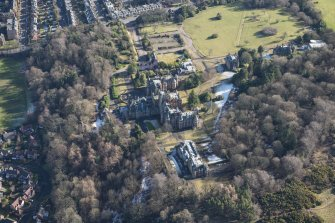 Oblique aerial view of New Craig House, Old Craig House and Queen's Craig House, looking ESE.