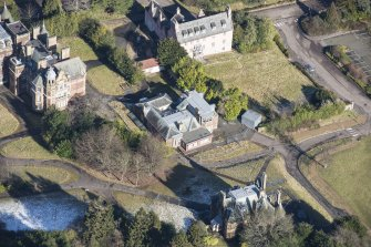 Oblique aerial view of Old Craig House and East Craig House, looking NNE.