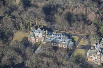 Oblique aerial view of Queen's Craig House, looking NNW.