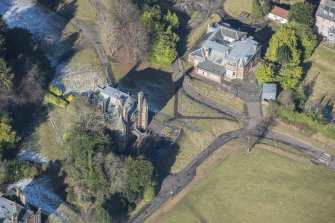 Oblique aerial view of South Craig House and East Craig House, looking NNW.