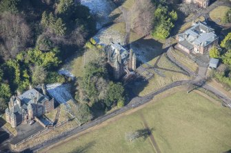 Oblique aerial view of South Craig House, Bevan House and East Craig House, looking NNW.