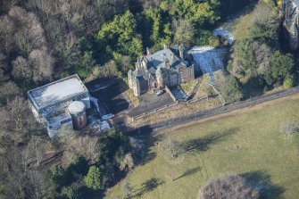 Oblique aerial view of South Craig House and Learning Resource Centre, looking WNW.