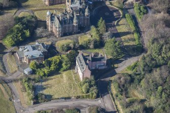 Oblique aerial view of Old Craig House and East Craig House, looking W.
