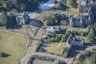 Oblique aerial view of Old Craig House, Bevan House and East Craig House, looking WSW.