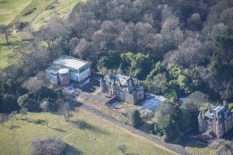 Oblique aerial view of South Craig House and Learning Resource Centre, looking WSW.