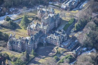 Oblique aerial view of New Craig House, looking SW.