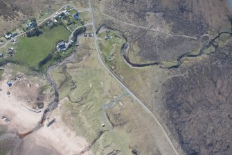 Oblique aerial view of An Faighear Mhoir military camp and battery, looking SSE.