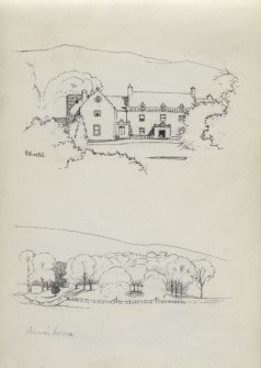 Sketches of Ashiesteel House and Skena's Knowe forestby unknown artist