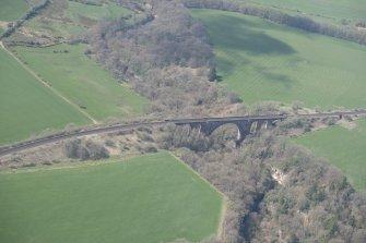 Oblique aerial view of Ballochmyle Railway Viaduct, looking W.
