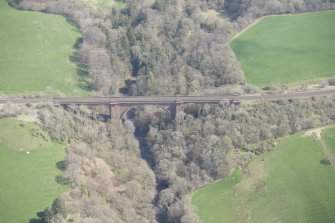 Oblique aerial view of Ballochmyle Railway Viaduct, looking ENE.