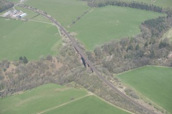 Oblique aerial view of Ballochmyle Railway Viaduct, looking N.