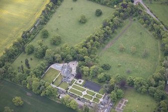 Oblique aerial view of Carlowrie Country House, walled garden, main stable block and Westfield Steading, looking ESE.