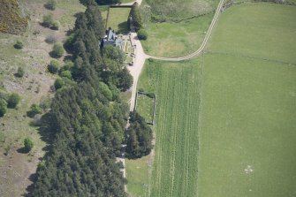 Oblique aerial view of Birse Castle, looking ENE.