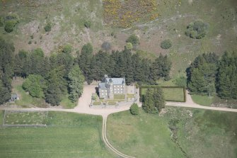 Oblique aerial view of Birse Castle, looking NW.