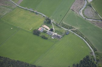 Oblique aerial view of Colquhonnie Hotel and Colquhonnie Castle, looking SSE.