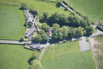 Oblique aerial view of St Mahew's Chapel, looking E.
