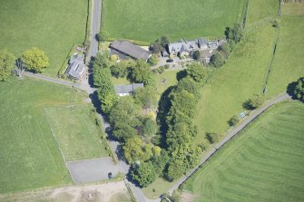 Oblique aerial view of St Mahew's Chapel, looking N.