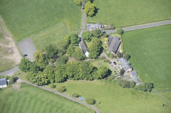 Oblique aerial view of St Mahew's Chapel, looking NNW.