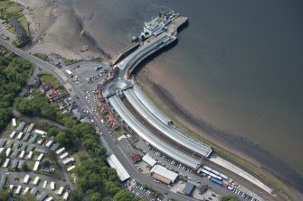 Oblique aerial view of Wemyss Bay Station and Railway Station, looking SW.