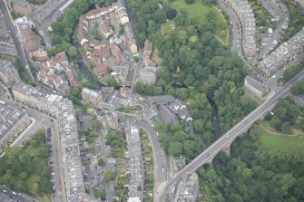 Oblique aerial view of Dean Village, Damside, Dean Path, Dean Bridge, Rothesay Terrace, Belgrave Terrace and Holy Trinity Espicopal Church, looking WNW.