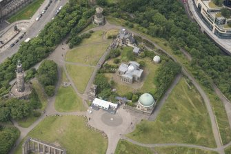 Oblique aerial view of Calton Hill, looking WSW.
