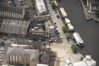 Oblique aerial view of Leith Signal Tower, looking SSW.