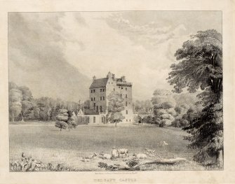 Perspective view of Delgatie Castle