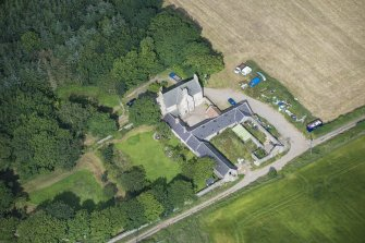 Oblique aerial view of Haddo House, steading and walled garden, looking WNW.