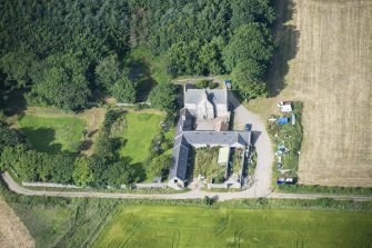 Oblique aerial view of Haddo House, steading and walled garden, looking WSW.