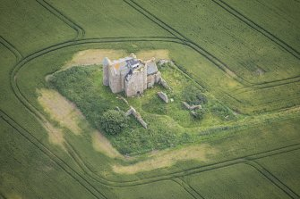 Oblique aerial view of Inchdrewer Castle, looking ENE.
